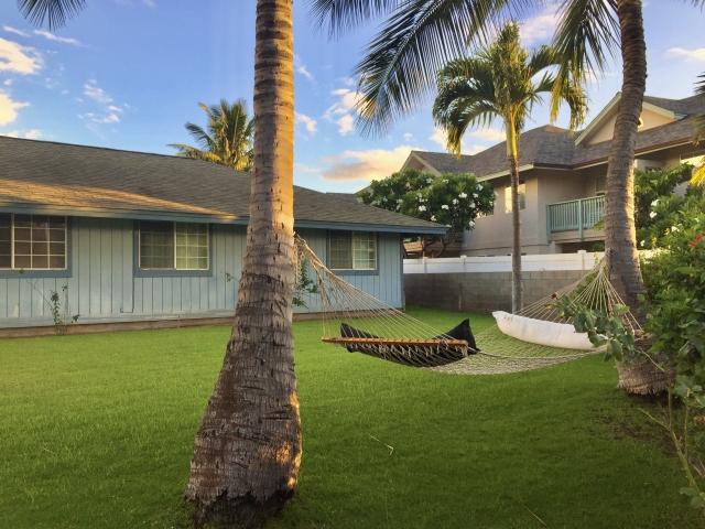 庭の芝生やヤシの木もサーファーズハウスの特徴